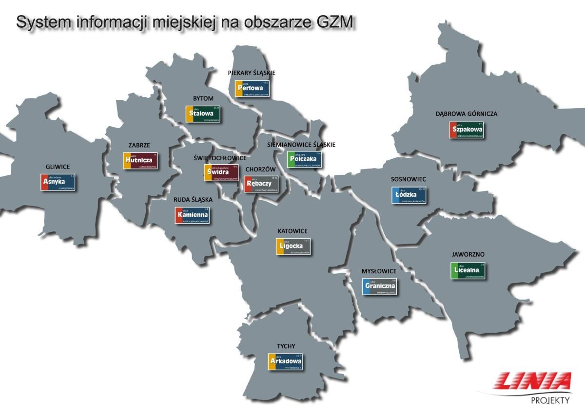Propozycja plastyczna tabliczek z nazwami ulic w miastach GZM