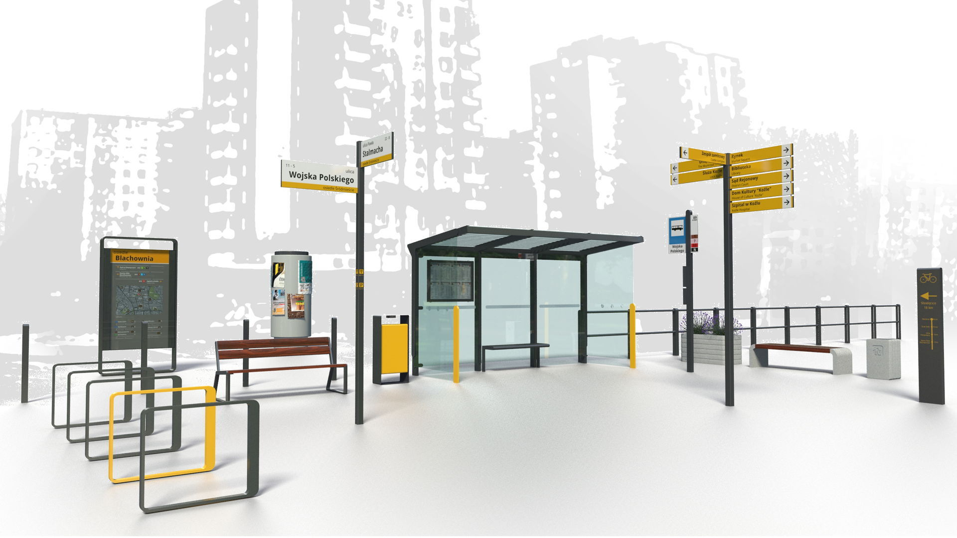 Program Estetyzacji Miasta Kędzierzyn-Koźle_strefa Nowomiejska_meble miejskie i elementy SIM